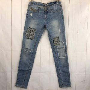 Free People Patchwork Distressed Skinny Jeans 26